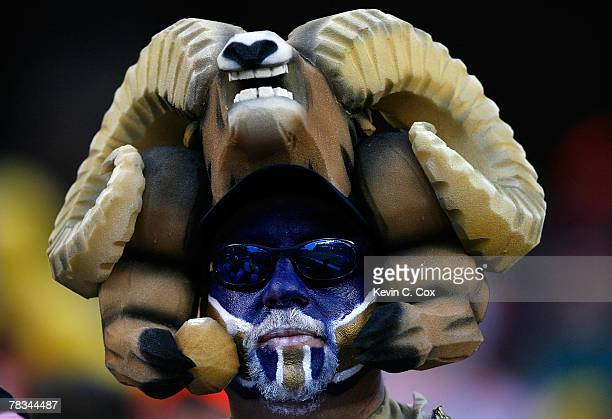 A fan of the St Louis Rams supports his team during the second half against of the Cincinnati Bengals at Paul Brown Stadium on December 9 2007 in...