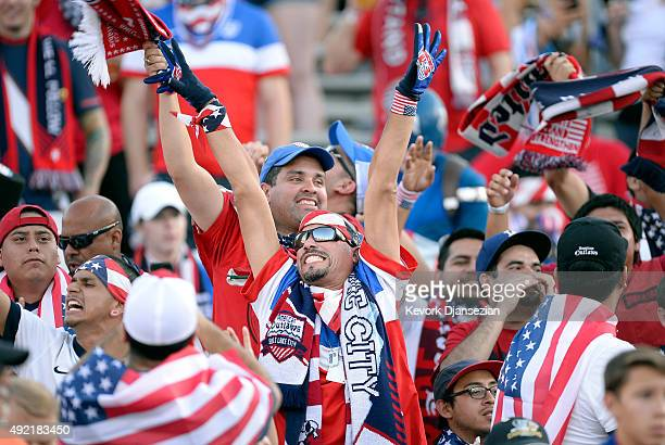 A fan of the United States cheers inside the Rose Bowl before the start of 2017 FIFA Confederations Cup Qualifier at Rose Bowl on October 10 2015 in...