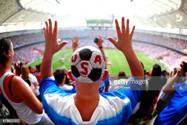 A fan of the United States is seen as the the United States takes on Japan in the FIFA Women's World Cup Canada 2015 Final at BC Place Stadium on...