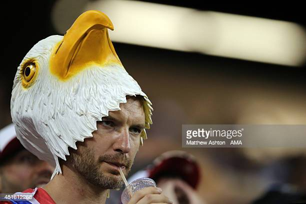 A fan of the United States reacts during the 2015 CONCACAF Gold Cup Semifinal between USA and Jamaica at Georgia Dome on July 22 2015 in Atlanta...