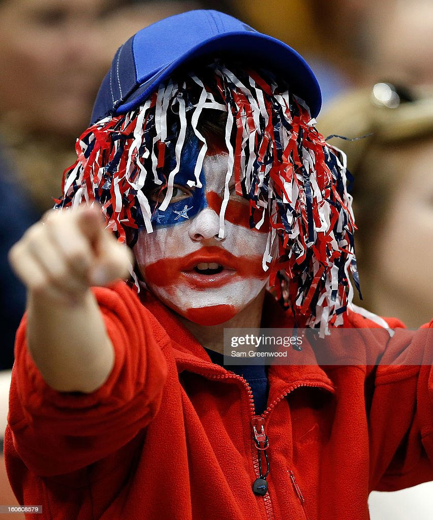 A fan of the United States shows his support during day three of the Davis Cup first round match between the U.S. and Brazil at Veterans Memorial Arena on February 3, 2013 in Jacksonville, Florida.
