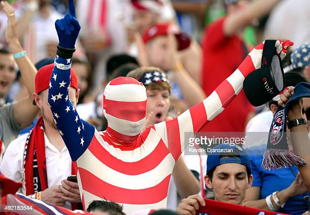 A fan of the United States stands inside the Rose Bowl before the start of 2017 FIFA Confederations Cup Qualifier against Mexico at Rose Bowl on...
