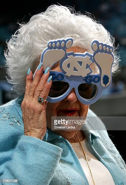 A fan of the University of North Carolina Tar Heels watches on before the start of their game against the Pennsylvania Quakers on January 3 2007 at...