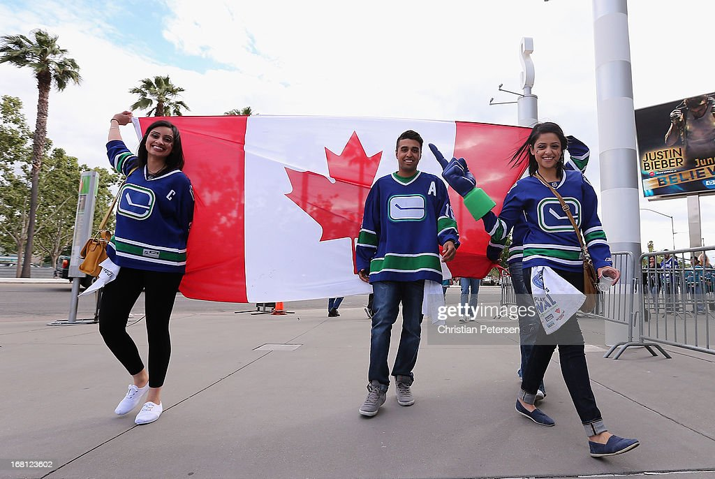 Fan of the Vancouver Canucks arrive to Game Three of the Western Conference Quarterfinals against the San Jose Sharks during the 2013 NHL Stanley Cup Playoffs at HP Pavilion on May 5, 2013 in San Jose, California.