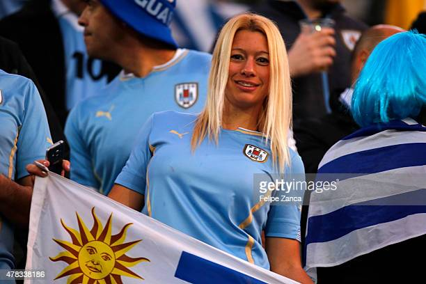 A fan of Uruguay enjoys the atmosphere prior the 2015 Copa America Chile quarter final match between Chile and Uruguay at Nacional Stadium on June 24...