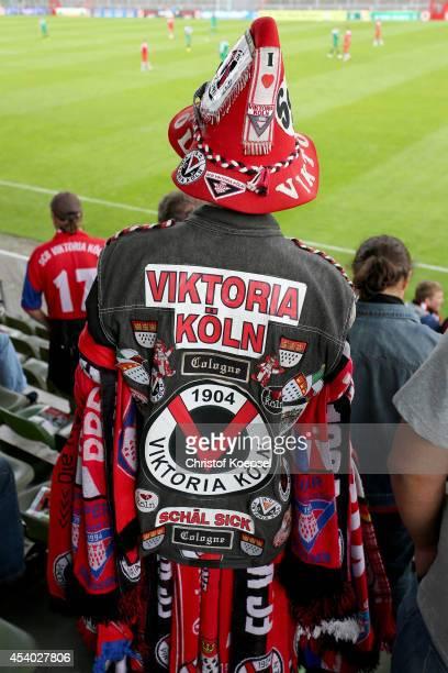 A fan of Viktoria Koeln stands on the tribune during the Regionalliga West match between Viktoria Koeln and SV Roedinghausen at Sportpark Hoehenberg...