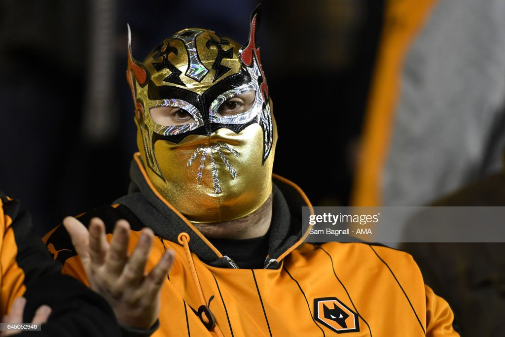 A fan of Wolverhampton Wanderers wearing a Mexican wrestling mask during the Sky Bet Championship match between Wolverhampton Wanderers and Birmingham City at Molineux on February 24, 2017 in Wolverhampton, England.