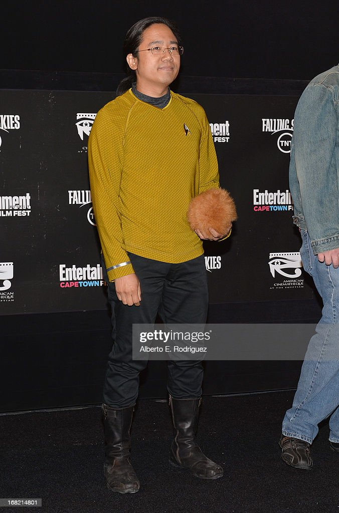A fan participates in a William Shatner impersonation contest at Entertainment Weekly's CapeTown Film Festival presented by The American Cinematheque and sponsored by TNT's 'Falling Skies' at the Egyptian Theatre on May 6, 2013 in Hollywood, California.