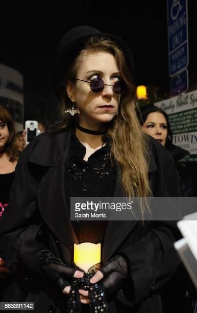 A fan participates in the Tom Petty Memorial Vampire Walk down Ventura Blvd on October 19 2017 in Sherman Oaks California