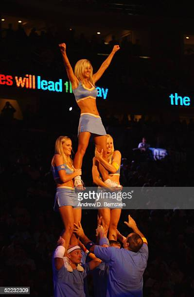 Fan Patrol members perform a pyramid in the 54th AllStar Game part of 2005 NBA AllStar Weekend at Pepsi Center on February 20 2005 in Denver Colorado...