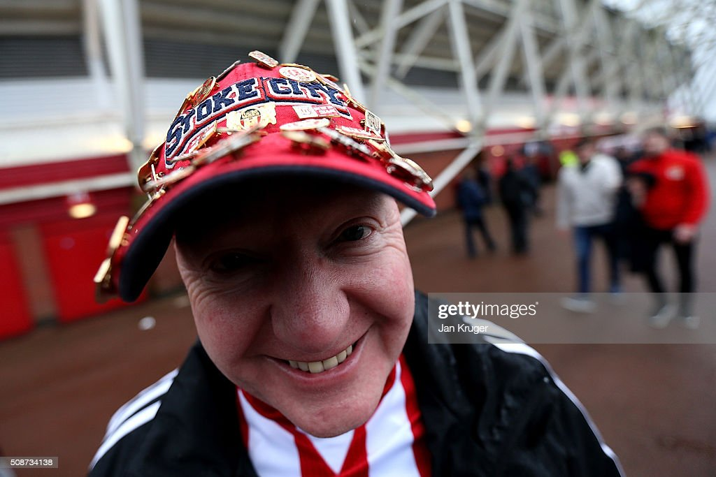 A fan poses ahead of the Barclays Premier League match between Stoke City and Everton at Brittania Stadium on February 06, 2015 in Stoke on Trent, England.