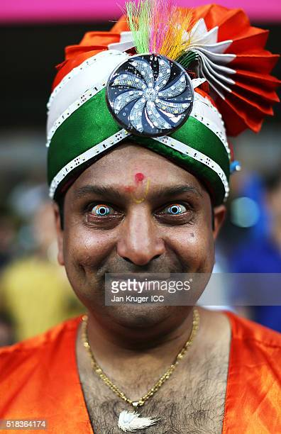 A fan poses ahead of the ICC World Twenty20 India 2016 SemiFinal match between West Indies and India at Wankhede Stadium on March 31 2016 in Mumbai...