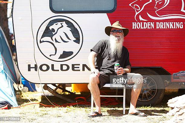 A fan poses during the Bathurst 1000 which is round 11 of the V8 Supercars Championship Series at Mount Panorama on October 12 2013 in Bathurst...