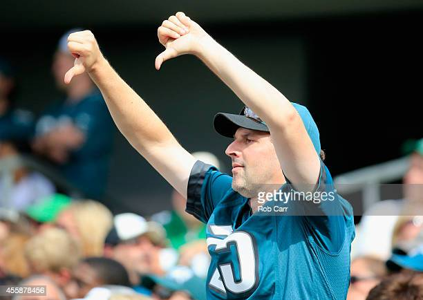 A fan reacts to a touchdown in the third quarter by DeSean Jackson of the Washington Redskins against the Philadelphia Eagles at Lincoln Financial...