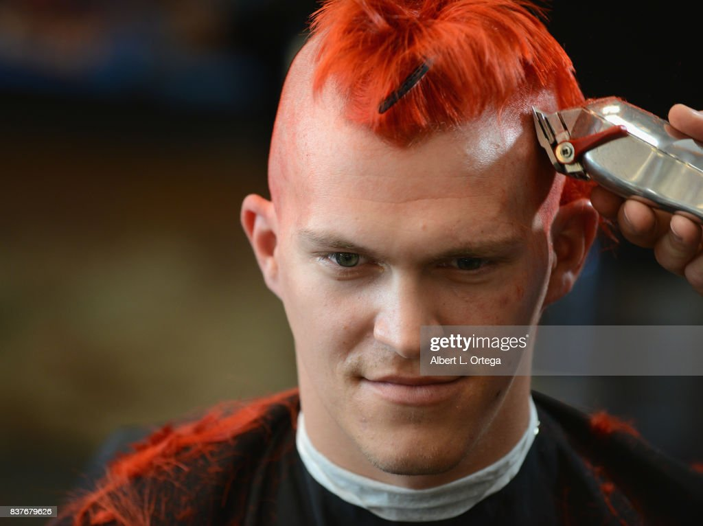 Fan Ryan Wiltberger gets a Yondu mohawk at Disney Celebrates Release Of 'Guardians Of The Galaxy Vol. 2' Blu-ray With Michael Rooker held at Shorty's Barber Shop on August 22, 2017 in West Hollywood, California.