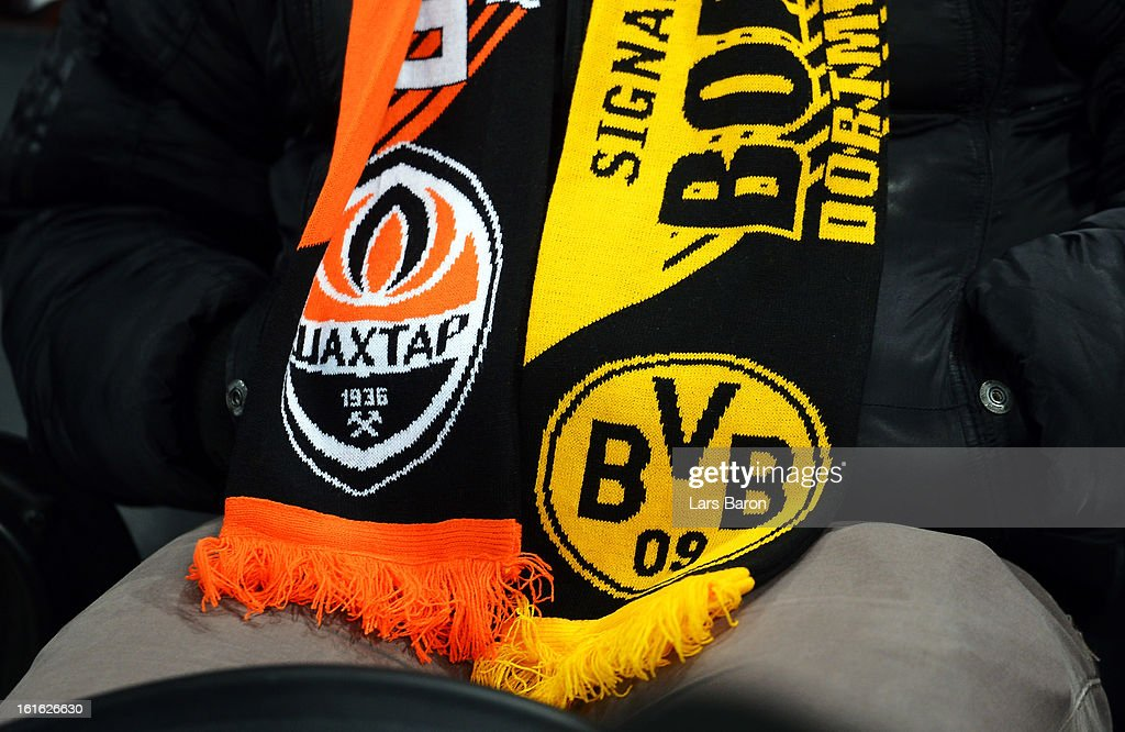 A fan scarf is seen during the UEFA Champions League Round of 16 first leg match between Shakhtar Donetsk and Borussia Dortmund at Donbass Arena on February 13, 2013 in Donetsk, Ukraine.