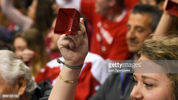 A fan shakes a give away cowbell on April 15 at the Verizon Center in Washington DC in Round 1 of the NHL Playoffs The Toronto Maple Leafs defeated...