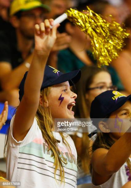 A fan shouts support during the round two Super Netball match between the Queensland Firebirds and the Melbourne Vixens at University of the Sunshine...