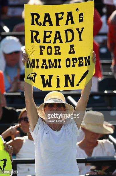 A fan shows a sign after Rafael Nadal of Spain's win over Nicolas Mahut of France at Crandon Park Tennis Center on March 28 2017 in Key Biscayne...