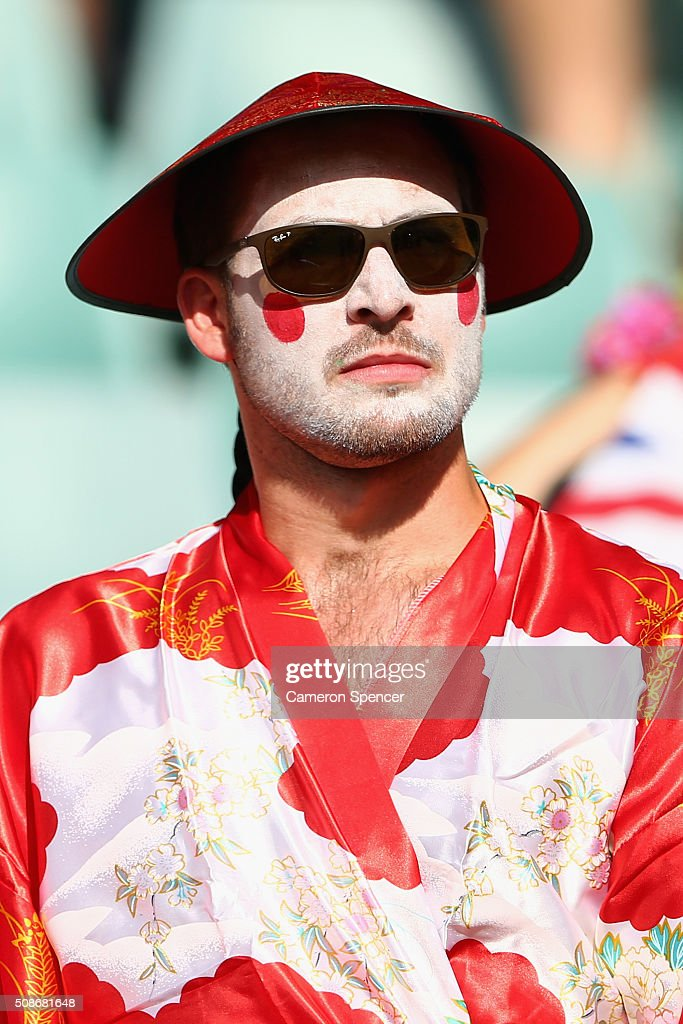 A fan shows his colours during the 2016 Sydney Sevens match between Japan and the USA at Allianz Stadium on February 6, 2016 in Sydney, Australia.