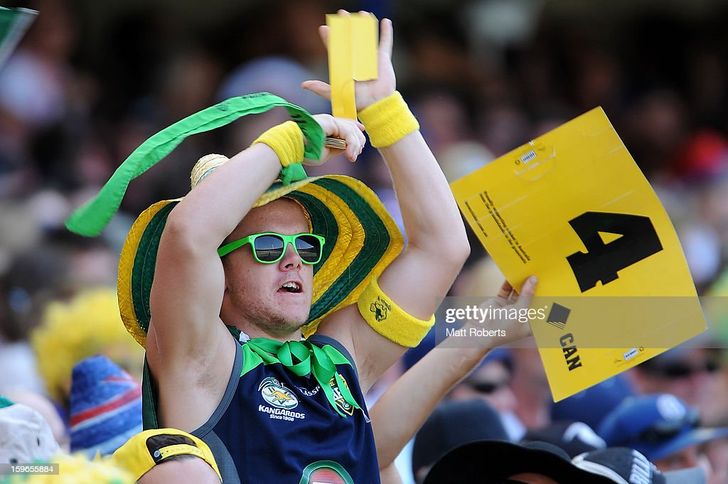 A fan shows his support during game three of the Commonwealth Bank One Day International Series between Australia and Sri Lanka at The Gabba on January 18, 2013 in Brisbane, Australia.