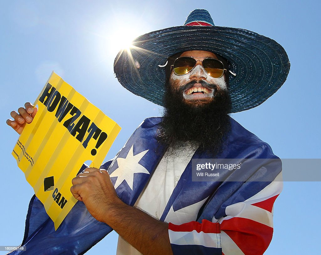 A fan shows his support during game two of the Commonwealth Bank One Day International Series between Australia and the West Indies at WACA on February 3, 2013 in Perth, Australia.