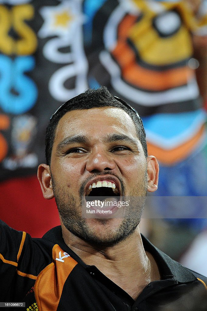 A fan shows his support during the NRL All Stars Game between the Indigenous All Stars and the NRL All Stars at Suncorp Stadium on February 9, 2013 in Brisbane, Australia.