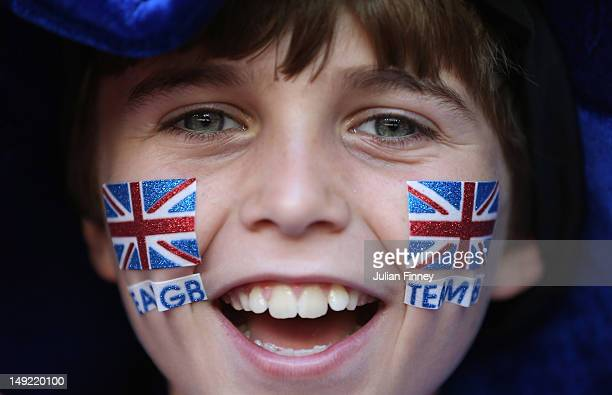 GB fan shows his support during the Women's Football first round Group E Match of the London 2012 Olympic Games between Great Britain and New Zealand...