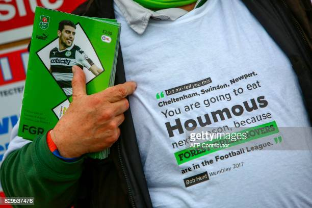 A fan shows off his tshirt outside ahead of the EFL Cup football match between Forest Green Rovers and MK Dons at The New Lawn stadium in Nailsworth...