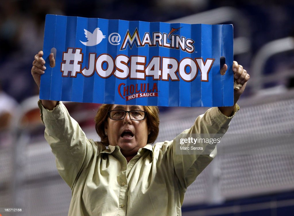 A fan shows support for Pitcher Jose Fernandez winning Rookie of the Year as the Philadelphia Phillies play against the Miami Marlins at Marlins Park on September 24, 2013 in Miami, Florida.