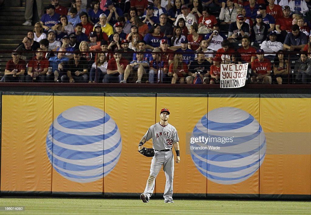 A fan shows their support for Josh Hamilton #32 of the Los Angeles Angels of Anaheim during the eighth inning of a baseball game against the Texas Rangers at Rangers Ballpark in Arlington on April 7, 2013 in Arlington, Texas.