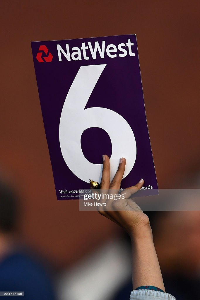 A fan signals a six during the NatWest T20 Blast between Middlesex and Hampshire at the Uckfield Sports Ground on May 27, 2016 in Uckfield, England.
