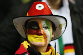 A fan soaks up the prematch atmosphere ahead of the UEFA EURO 2016 Qualifier group D match between Republic of Ireland and Germany at the Aviva...