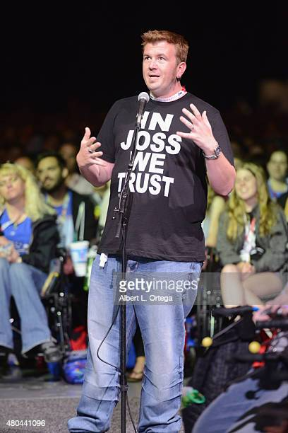 A fan speaks at Dark Horse An Interview with Joss Whedon during ComicCon International 2015 at the San Diego Convention Center on July 11 2015 in San...
