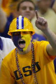 A fan support the Louisiana State University Tigers in the National Championship Nokia Sugar Bowl game against the University of Oklahoma Sooners at...