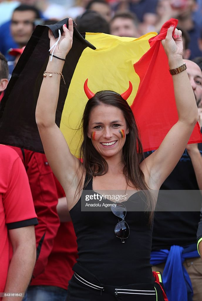 A fan supports her team prior to the UEFA Euro 2016 round of 16 football match between Hungary and Belgium at Stadium Municipal in Toulouse, France on June 26, 2016.