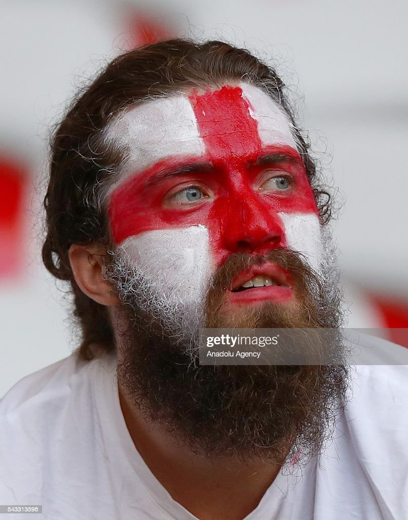 A fan supports his team during the UEFA Euro 2016 Round of 16 football match between Iceland and England at Stade de Nice in Nice, France on June 27, 2016.