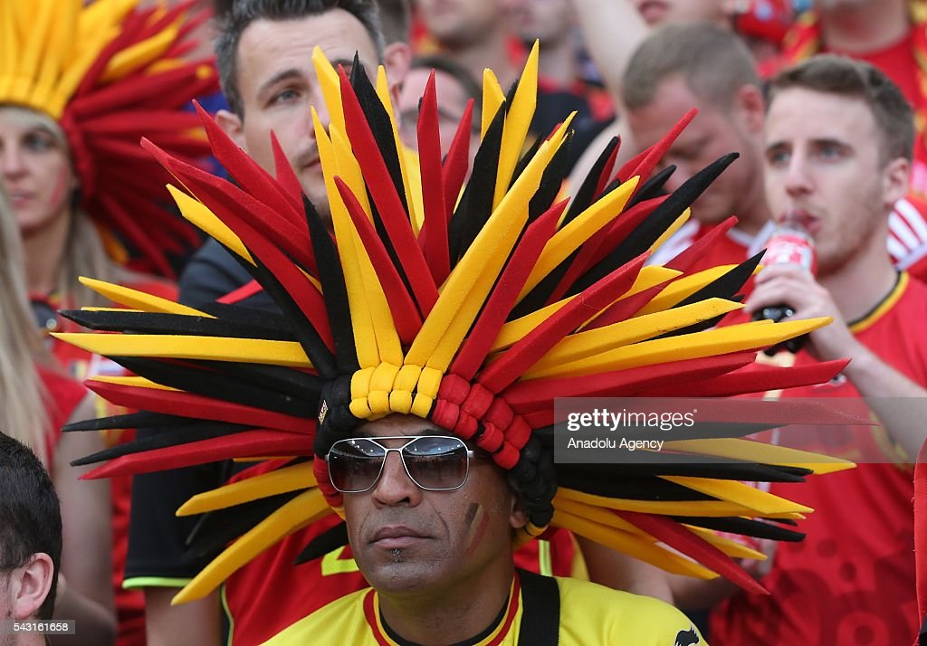 A fan supports his team prior to the UEFA Euro 2016 round of 16 football match between Hungary and Belgium at Stadium Municipal in Toulouse, France on June 26, 2016.
