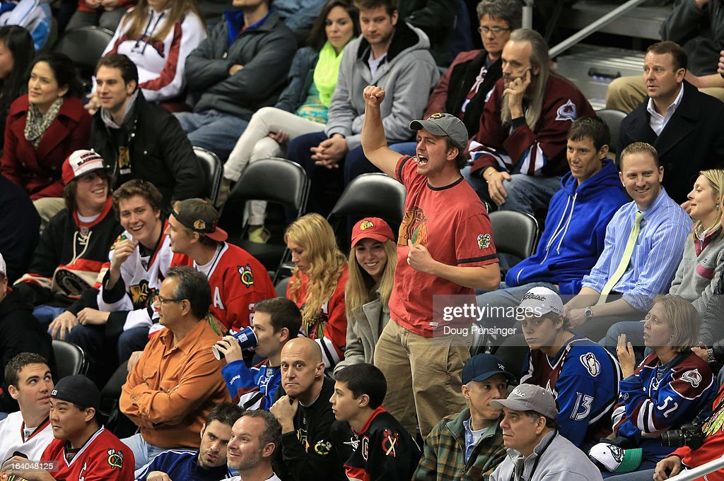 A fan supports the Chicago Blackhawks as they face the Colorado Avalanche at the Pepsi Center on March 18, 2013 in Denver, Colorado. The Blackhawks defeated the Avalanche 5-2.