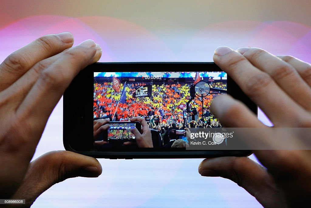 A fan takes a photo during the Pepsi Super Bowl 50 Halftime Show at Levi's Stadium on February 7, 2016 in Santa Clara, California.