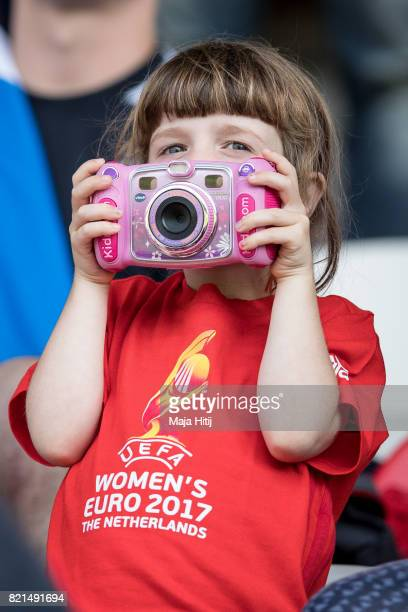 Fan takes a picture prior the UEFA Women's Euro 2017 Group D match between Scotland v Portugal at Sparta Stadion on July 23 2017 in Rotterdam...