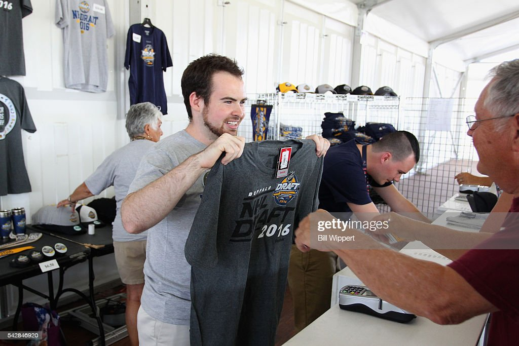 A fan visits the merchandise tent during the Fan Fest as part of the 2016 NHL Draft at Canelside on June 24, 2016 in Buffalo, New York.