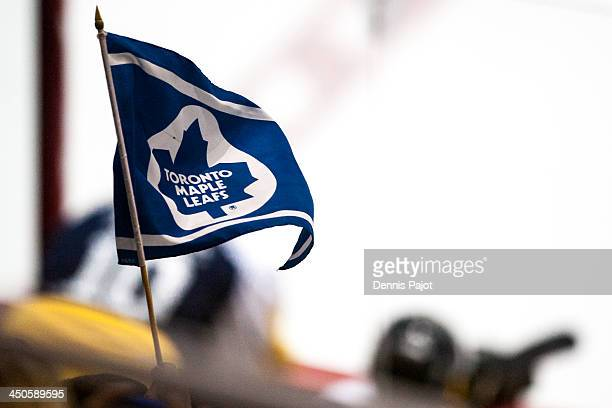 A fan waives a Leafs banner during the Toronto Maple Leafs Alumni game on November 8 2013 at the WFCU Centre in Windsor Ontario