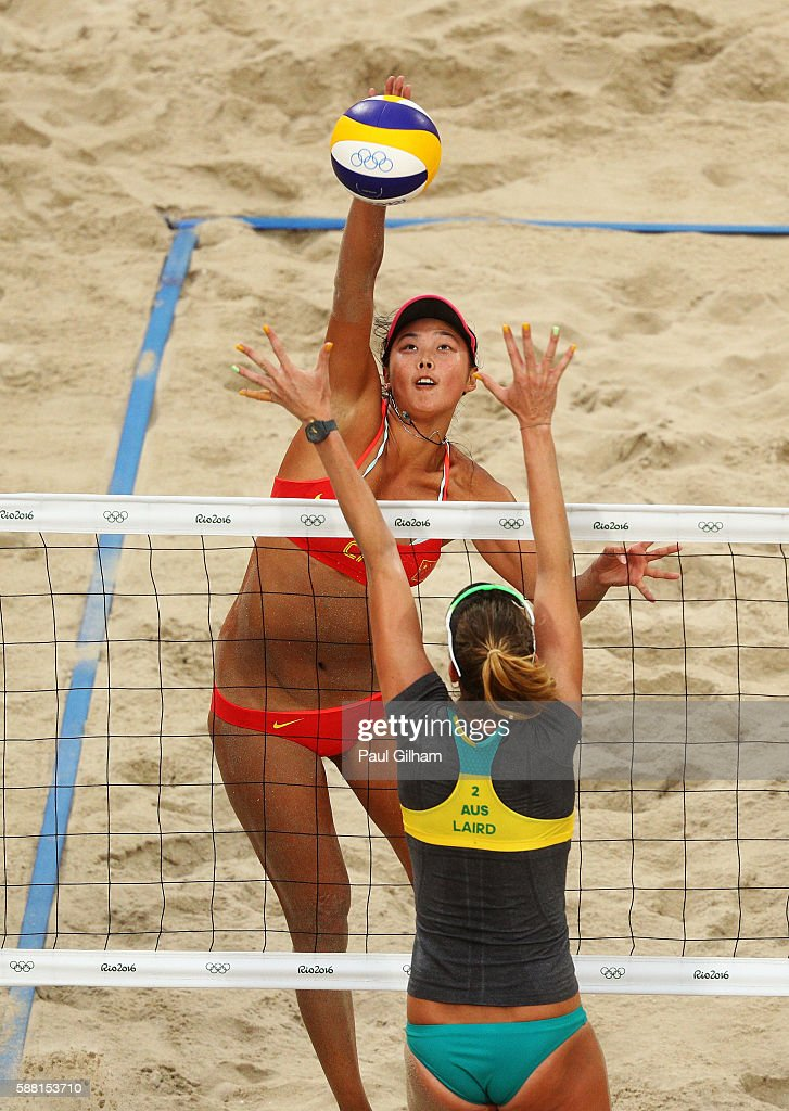 Fan Wang of China vies against Nicole Laird of Australia during their Women's Preliminary Pool C match on Day 5 of the Rio 2016 Olympic Games at the...