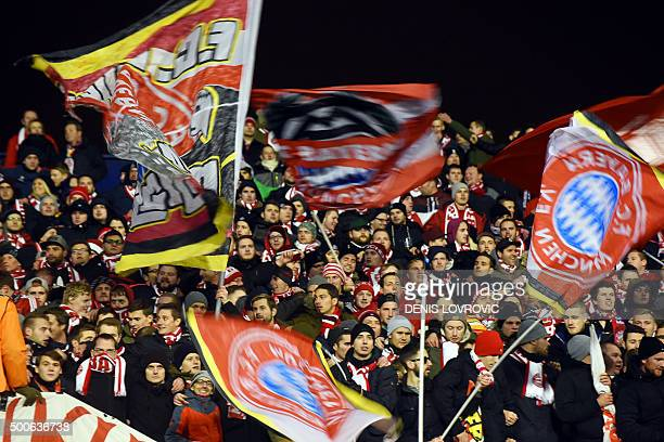 Fan wave flags during the UEFA Champions League football match between Dinamo Zagreb v Bayern Munich at the Maksimir stadium in Zagreb on December 9...