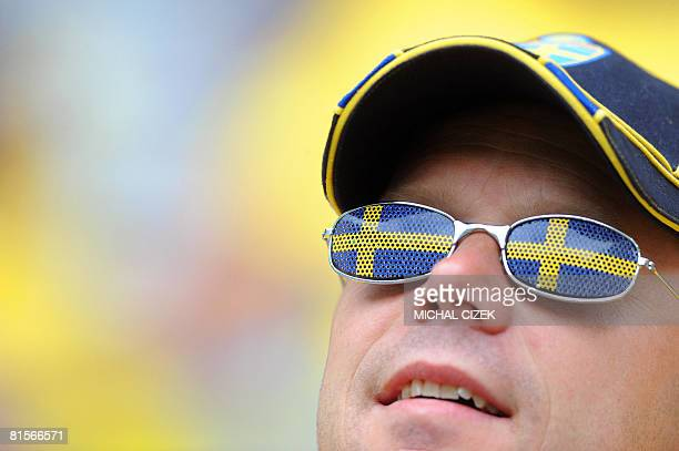 A fan wear glasses with the Swedish flag during the Euro 2008 Championships group D football match Sweden vs Spain on June 14 2008 at the Tivoli Neu...