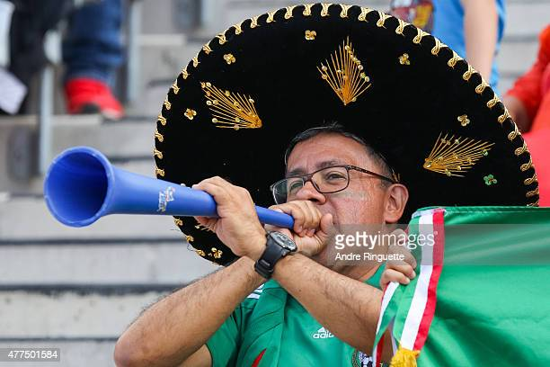 A fan wearing a sombrero cheers on Mexico during the FIFA Women's World Cup Canada 2015 Group F match between Mexico and France at Lansdowne Stadium...