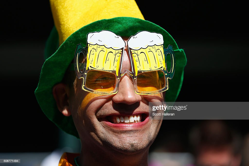 A fan wearing beer goggle glasses on the 16th hole during the third round of the Waste Management Phoenix Open at TPC Scottsdale on February 6, 2016 in Scottsdale, Arizona.