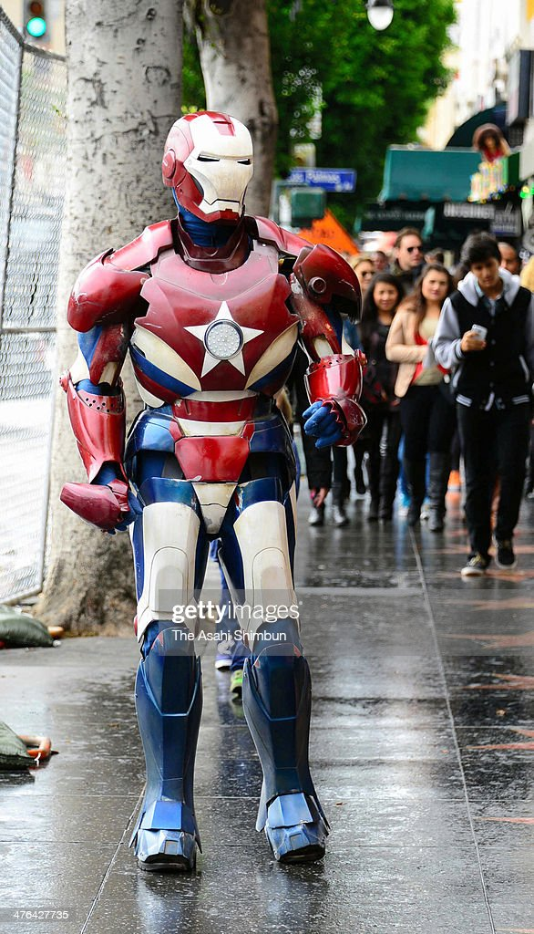 A fan wearing the Iron Man costume is seen at Hollywood Highland Center on March 2 2014 in Hollywood California