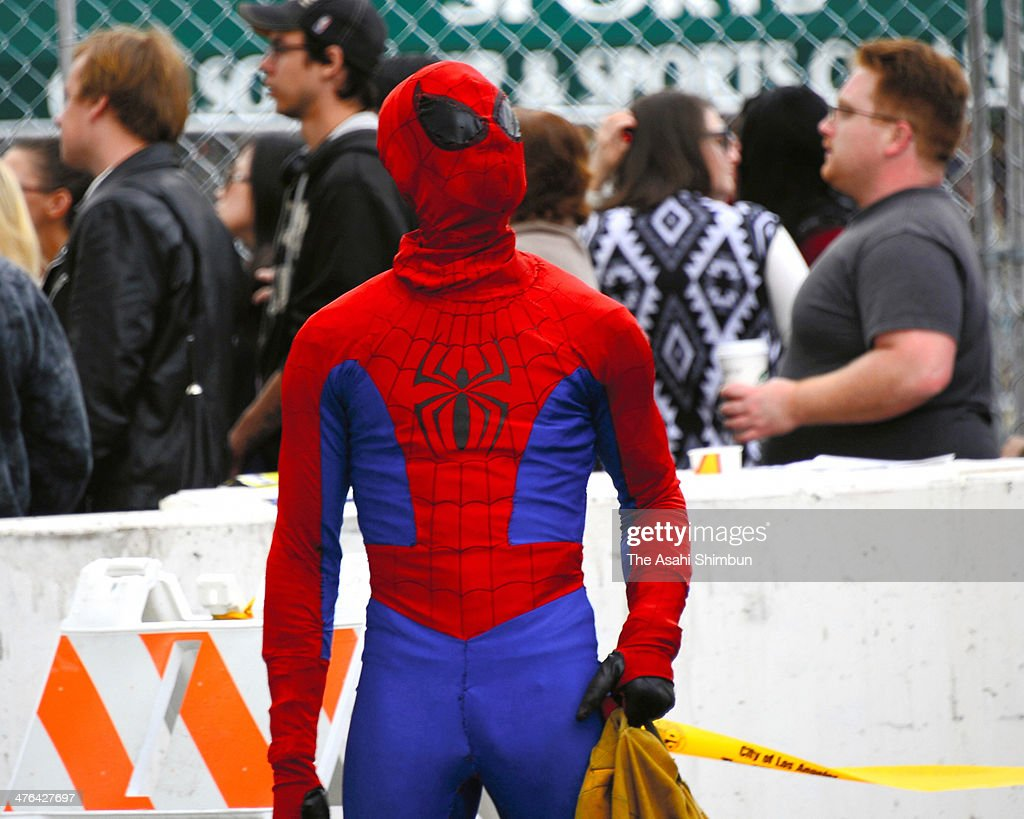 A fan wearing the Spiderman costume is seen at Hollywood Highland Center on March 2 2014 in Hollywood California